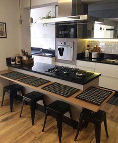 Kitchen Room Design, Modern Kitchen Design, Dining Room Design, Interior Design Kitchen, Kitchen Decor, Kitchen Shelf Inspiration, Small Condo Decorating, Kitchen Booths, Small Apartment Design