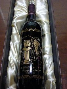 畢業禮可愛版藝術人像酒瓶雕刻