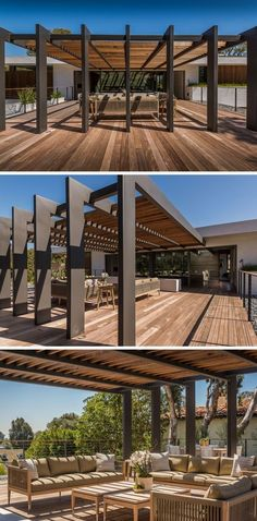 This large pergola has enough space for a large outdoor lounge and dining area. - This large pergola has enough space for a large outdoor lounge and dining area. Outdoor Shade, Outdoor Pergola, Backyard Pergola, Outdoor Lounge, Outdoor Areas, Outdoor Rooms, Backyard Landscaping, Outdoor Living, Pergola Lighting