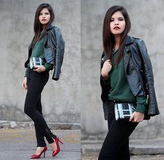 Sheinside Faux Leather Jacket, Doizpe Handcrafted Clutch, Bershka Zipper Leg Skinny, Oasap Red Heels