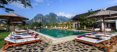 Hotels Vang Vieng – Laos | The most spectacular place to be in Vang Vieng is around the Nam Song River, therefore most of the hotels we have selected here are on the water offering unique views!