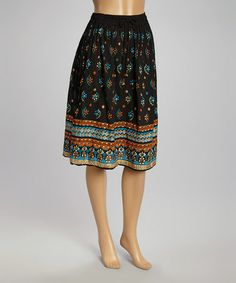 Love this Black & Turquoise Floral Skirt - Women on #zulily! #zulilyfinds