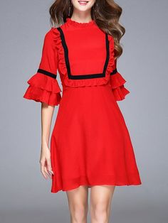 Shop Midi Dresses - Frill Sleeve Ruffled Silk Girly Midi Dress online. Discover unique designers fashion at StyleWe.com.