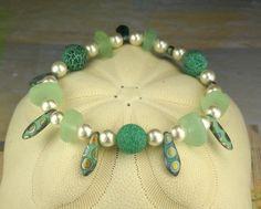 Peacock Jewelry GENUINE Aqua Sea Glass by seaglassgems4you on Etsy, $55.00