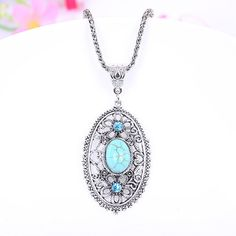 Silver Turquoise Pendant Necklace For Women Tibetan Silver Vintage Turquoise Jewelry ON SALE
