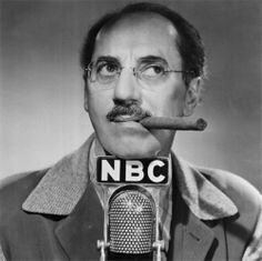 """Groucho Marx, ad-lib expert, rests his chin on a microphone labeled with the call letters of his new radio home. The fabulous Groucho starts his famous """"You Bet Your Life"""" quiz show on NBC Oct. Get premium, high resolution news photos at Getty Images Vintage Hollywood, Classic Hollywood, Hollywood Men, Hollywood Stars, Groucho Marx, Harpo Marx, Johnny Carson, Old Time Radio, Old Tv"""