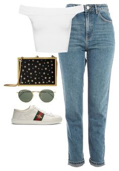 """Untitled #4728"" by magsmccray on Polyvore featuring Topshop, WearAll, Alice + Olivia, Ray-Ban and Gucci"