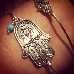 Lucky Hamsa bangle in silver with Turquoise bead charm on Etsy, $14.50