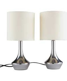 ColourMatch Pair of Touch Table Lamps - Cream.