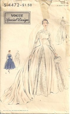 Vogue 4472 Special Design 50's Wedding Gown by patternmania, $50.00