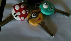 Polymer clay key caps. Bringing some fun with to work. Mario brothers, Minion and Mike from Monsters Inc.