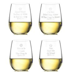 Stemless Wine Glasses - Dog Sayings (Mixed Set Of Four)