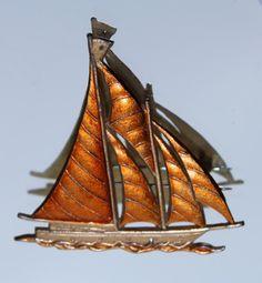 Vintage Gold Coloured & Orange Enamel Sailing Yacht Brooch (c1970s) by GillardAndMay on Etsy
