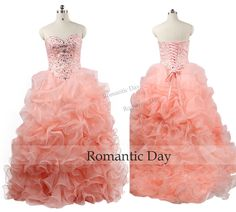Coral Quinceanera Dresses Ruffles Crystal Evening Gowns 2016 Sweetheart Corset Organza Prom Dress Lace-up Custom Made 0535