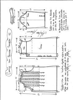 Esquema de modelagem de camisa com nervuras tamanho 42.