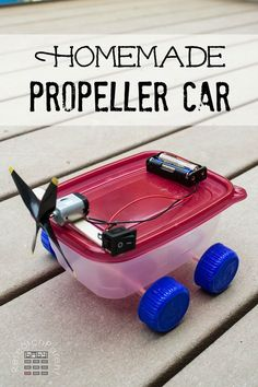 Homemade Propeller Car - An inexpensive, fun, first electronics project for kids who love robots.