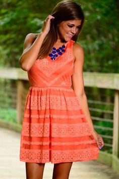 Straight Laced Dress, Orange