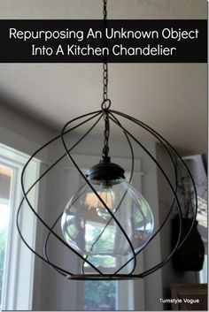 DIY Chandelier made by old object, possibly an industrial egg beater.  Repurposed Decor.  www.turnstylevogue.com #turnstylevogue