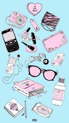 Hand-drawn illustration of everyday items. Kawaii Wallpaper, Tumblr Wallpaper, Wallpaper Iphone Cute, Cute Wallpapers, Cute Backgrounds, Wallpaper Backgrounds, Phone Backgrounds, Printable Stickers, Planner Stickers
