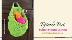 Canasta colgante organizadora tejida en crochet XL en trapillo (Crochet ...