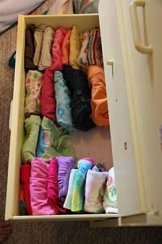 """File"" clothes vertically in drawers so you can see your clothes at a glance.  Via Chasing Cheerios"
