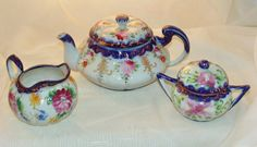 Image detail for -Antique Hand Painted Old Nippon Cobalt Tea Pot Asters & Roses