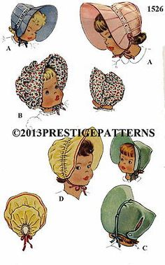 """Vintage Cute Childrens Baby BONNETS Fabric Material Sewing Pattern Sz 19"""" #1526"""