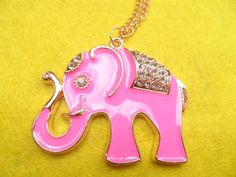 Pink and Rhinestone Lucky Elephant Necklace by GrannysInspirations, $14.95