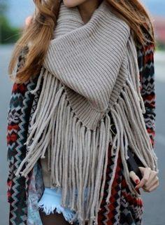 FASHION FIX: Fringe! Embrace the fringe with a large, cozy scarf.