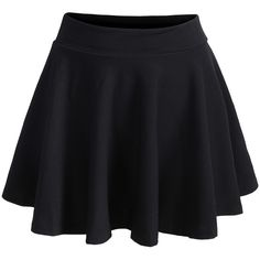Romwe Elastic Waist Pleated Black Skirt (12 CAD) ❤ liked on Polyvore featuring skirts, bottoms, saias, black, elastic waistband skirt, short skirts, black pleated skirt, black knee length skirt and black skirt