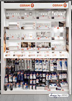 osram 01 shop in shop shop shop in shop systeme Warenpraesentation Lighting Showroom, Lighting Store, Shop Board Design, Electrical Shop, Showroom Interior Design, Retail Shelving, Electronic Shop, Layout, Arno