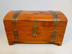 Vintage Wood Wooden Chest Jewelry Box Brass Trim and Heart Shaped Lock