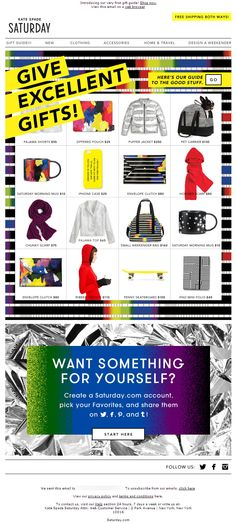 Sent: 11/5/13 SL:'It's gift guide time!' Fun gift guide email from Kate Spade Saturday with various products and a create an account CTA.