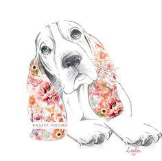 Floral Basset hound by Loladesignltd on Etsy