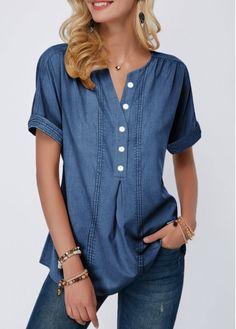 Stylish Tops For Girls, Trendy Tops, Trendy Fashion Tops, Trendy Tops For Women Page 5 Stylish Tops For Girls, Trendy Tops For Women, Blouses For Women, Women's Blouses, Formal Blouses, White Blouses, Jeans For Short Women, Royal Blue Shorts, Royal Blue Blouse