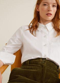 Flared corduroy trousers - Woman   Mango Ireland Flare, Mango France, Trends, Corduroy Pants, Work Attire, Trousers Women, Welt Pocket, Chef Jackets, How To Wear