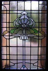 Glasgow Style art nouveau stained glass window at Glasgow Academy, Newlands, Scotland. Oscar Paterson 2 by RDW Glass