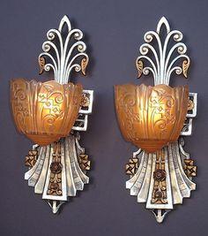 *Art deco wall lamps, ca 1930, vintagelights.com