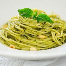 Ingredients    1/4 cup pine nuts 2 cups tightly packed fresh basil, stems removed 2 cups tightly packed fresh spinach, stems removed 4 cloves garlic, minced 1 cup grated parmesan cheese 1/2 tsp. salt 1 1/2 tbsp. olive oil 1/3-1/2 cup water 8 oz. angel hair pasta    http://www.mydailymoment.com/recipes/pesto_angel_hair.php