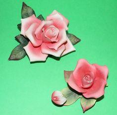Lefton Two Pink Rose flowers porcelain figurines #00690 & #00693