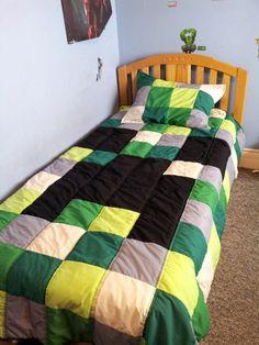 Green Blue Minecraft Blocks Boys Bedding Full Queen Quilt