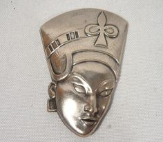 "Vintage 2"" Truart Egypt Queen Head Brooch Sterling Silver JEWELRY Signed"