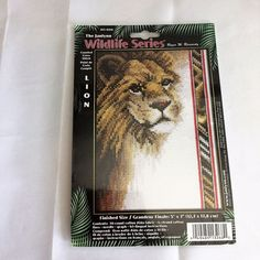 "Lion Counted Cross Stitch Kit Janlynn Wildlife Series 5x7"" #13-268 NOS 2002 NIB #Janlynn #WallHanging #lion #lions #crossstitch"