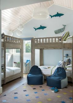 Bunk room by Interior Design in Key West, FL home {House of Turquoise} Bedroom Themes, Beach House Decor, Beach Room, Bedroom Design, Beach Cottage Style, Home Decor, House Interior, Bunk Rooms, Kids Bedroom