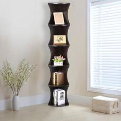 Yaheetech 5 Tier Brown Round Wall Corner Shelf Stand Storage Skinny Display Bookshelf Rack Casual Home Office Furniture Corner Shelf Design, Corner Shelving Unit, Wall Mounted Corner Shelves, Wall Shelving Units, Corner Bookshelves, Cube Shelves, Bookcase, Bookshelf Ideas, Trendy Tree