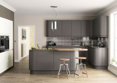 Grey gloss kitchen, New fully fitted kitchens in Shropshire and Staffordshire. Contemporary kitchen, modern kitchen, new fitted kitchen in Derby and Midlands