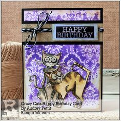 Tim Holtz's Bird Crazy collection has been all the rage this past year, and now we have the fabulous Crazy Cats joining in. Today I have a fun birthday card to share, featuring these adorable cats …