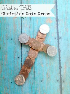 If you are looking for some family fun Christian crafts, this Paid in Full Coin Cross craft is perfect. It's a great DIY craft for Vacation Bible School, Sunday School class, and would be an ideal craft for Easter. Coin Crafts, Vbs Crafts, Church Crafts, Easter Crafts, Easter Decor, Holiday Crafts, Holiday Ideas, Christmas Ideas, Sunday School Projects