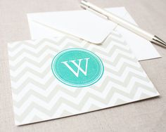 Personalized Notecard Set  Chevron Monogram  Set of by CurioPress, $13.00