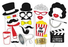 Movie Night Photo booth Party Props Set - 23 Piece PRINTABLE - Hollywood Party Photo Booth Props